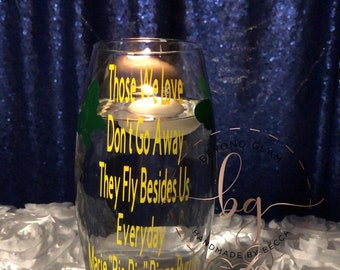Butterfly Memorial Personalized Water Floating Candle Glass Ceremony Unity Candle 1 Large Vase