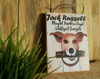 House Garden Plaque White//Black Beware of The Jack Russell Dog Sign