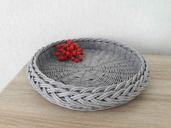 Coffee Table Tray Round Wicker Woven Basket Etsy