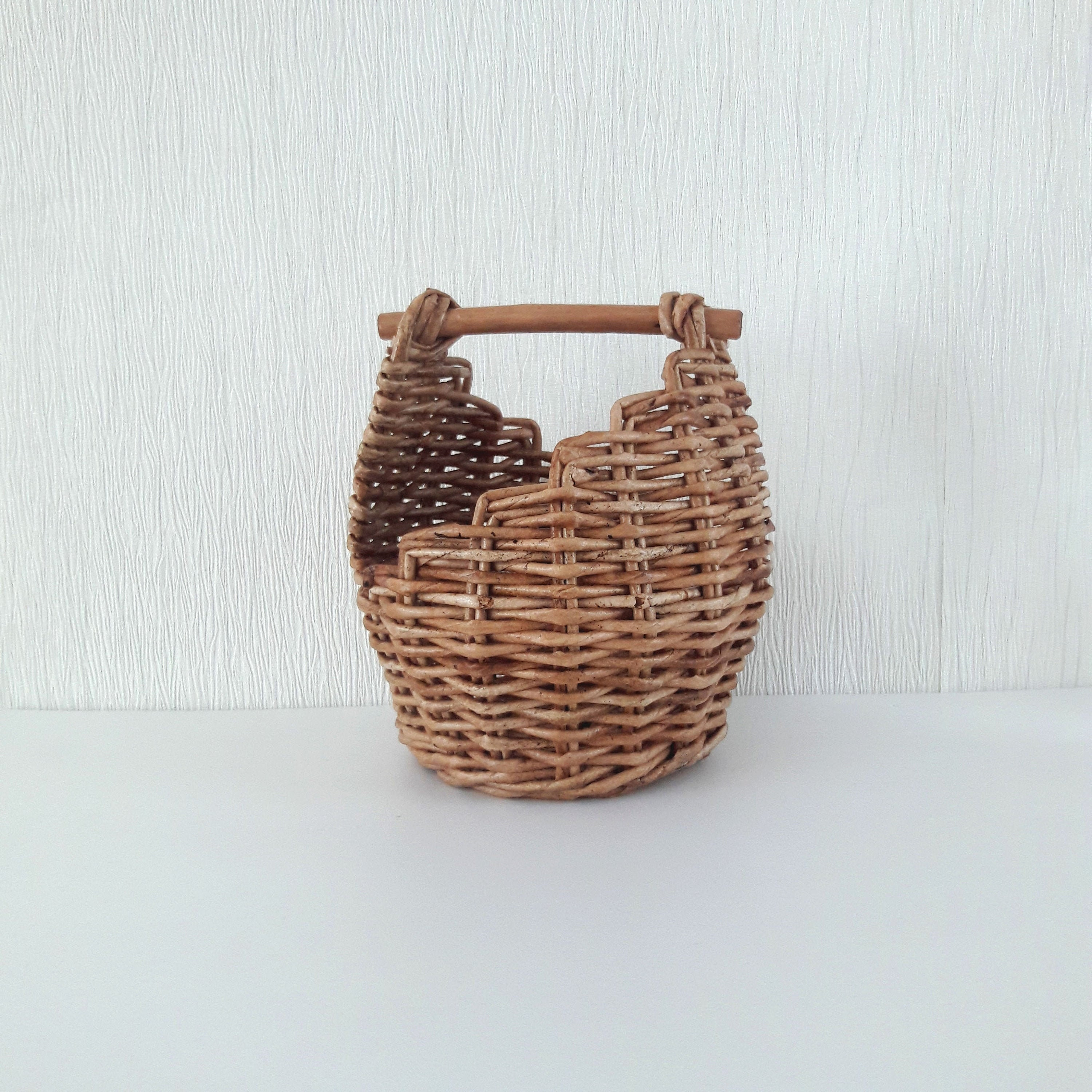 Smal Wicker Basket With Wooden Handle Rustic Table Decor Etsy
