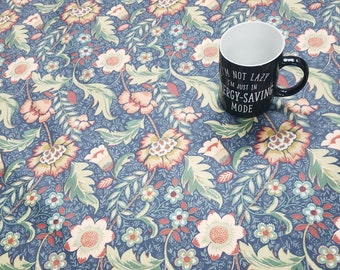 Oilcloth Tablecloth Pvc Tablecloth - 1613 Maurice Navy Oilcloth  Matt Finish. Simply wipeclean the tablecloth