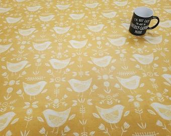 Pvc Tablecloth  / Oilcloth-1595 NARVIK OCHRE- Matt PVC Tablecloth - Wipeclean Tablecloth