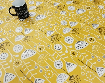 Oilcloth Tablecloth Pvc Tablecloth - BERGEN Ochre - Oilcloth  Matt Finish. Simply wipeclean the tablecloth