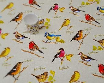 Oilcloth Tablecloth Pvc Tablecloth  - Design : 1363 GARDEN BIRDS - Matt Finish - simply wipeclean the tablecloth