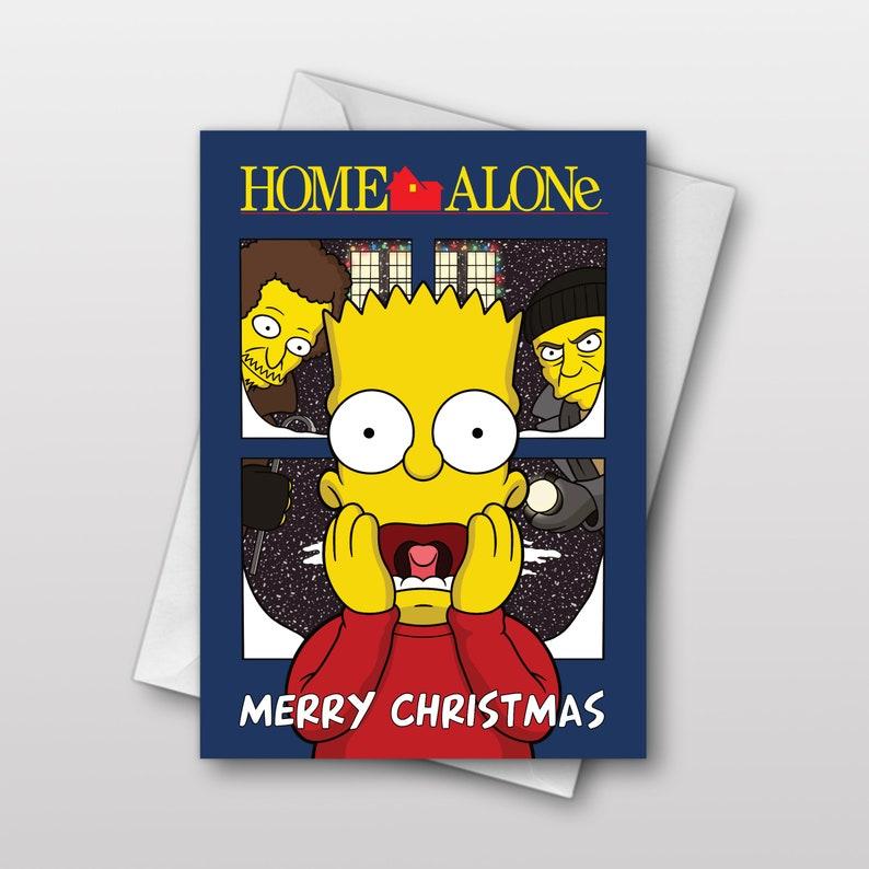 Bart Simpson X Home Alone Christmas Card Cartoon Pop Art