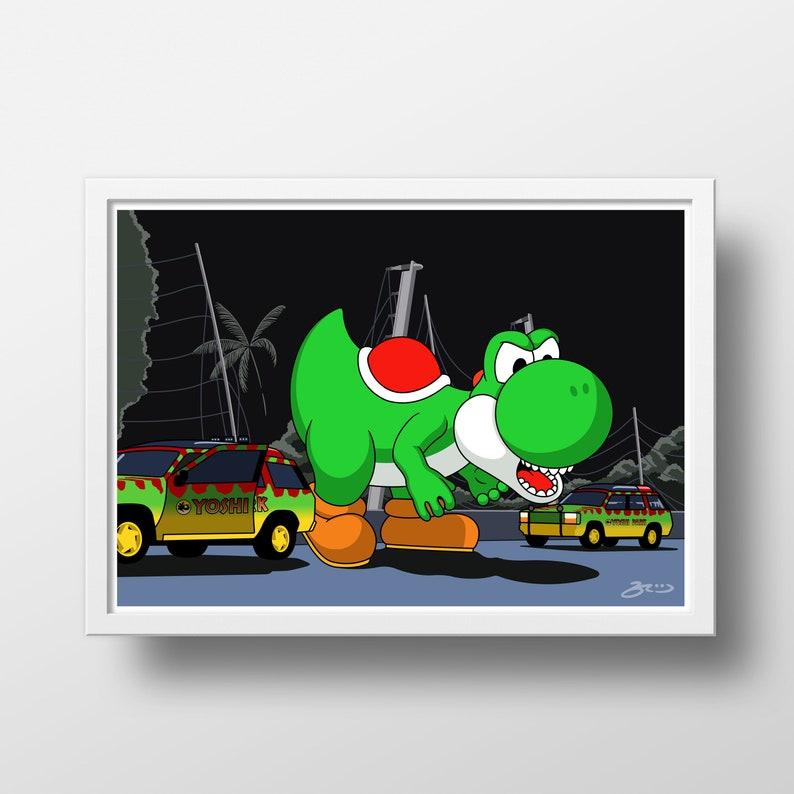 Yoshi rex jurassic park super mario world poster di etsy