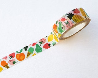 Washi Tape summer fruit ice cream colorful scrapbooking gift wrapping strawberry pineapple lemon peach - design by Heleen van den Thillart