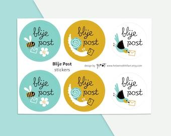 Blije Post stickervel illustratie nederlands stickers envelop etiket sluitzegel - design by Heleen van den Thillart