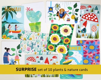 Surprise plants nature postcards mystery set of 10 cards flowers gardening cactus / ansichtkaarten - design by Heleen van den Thillart