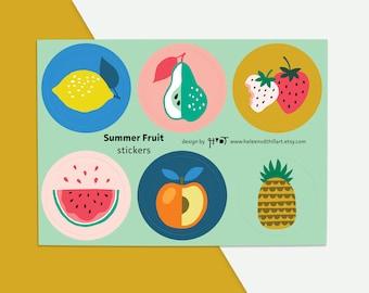 Summer Fruit sticker sheet illustration envelope seal gift wrapping pineapple strawberry lemon pear - design by Heleen van den Thillart
