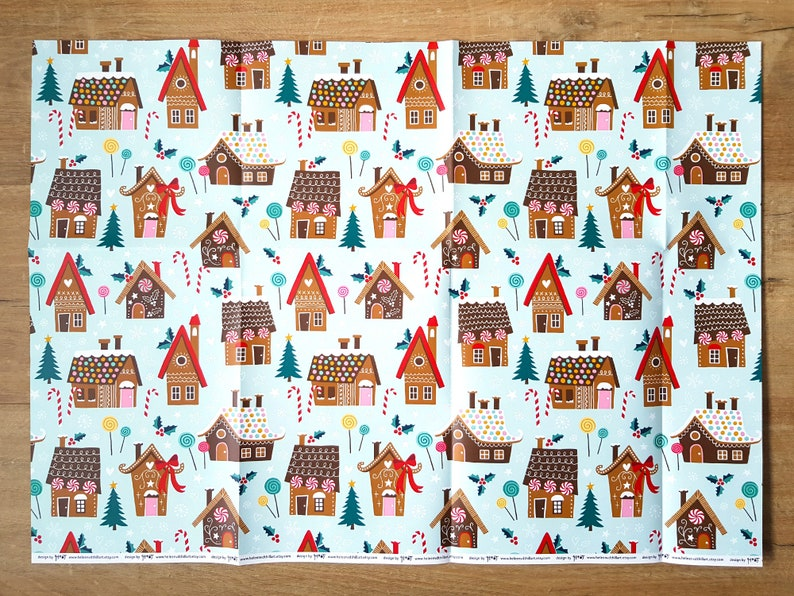 Christmas gift wrapping double sided holiday crafting paper 3 sheets 19x27 inch  inpakpapier 50x70 cm design by Heleen van den Thillart
