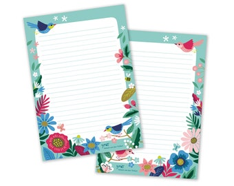 Notepad Birds Bloom A5 cute spring flowers double sided letter paper stationery - design by Heleen van den Thillart