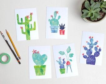 Watercolor cactus postcards succulents / ansichtkaarten - set of 5 - design by Heleen van den Thillart