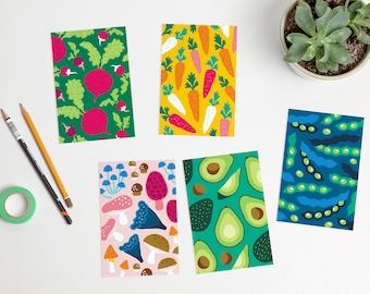 Colorful Veggies Postcards vegetables avocado mushrooms carrot beet beans / ansichtkaarten - set of 5 - design by Heleen van den Thillart