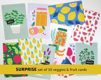 Surprise Fruit Veggies postcards mystery set of 10 cards vegetables herbs food / ansichtkaarten - design by Heleen van den Thillart