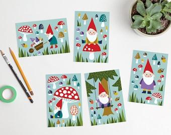 Happy Gnomes Postcards mushrooms forest autumn fall / ansichtkaarten - set of 5 - design by Heleen van den Thillart