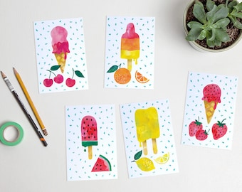Summer Ice cream postcards watercolor fruit illustration strawberry orange / ansichtkaarten - set of 5 - design by Heleen van den Thillart