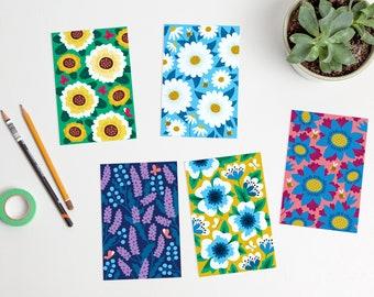 Colorful Flowers Postcards floral bright summer spring / ansichtkaarten - set of 5 - design by Heleen van den Thillart