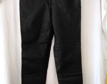 Vintage Black Leather High waisted Lady jeans