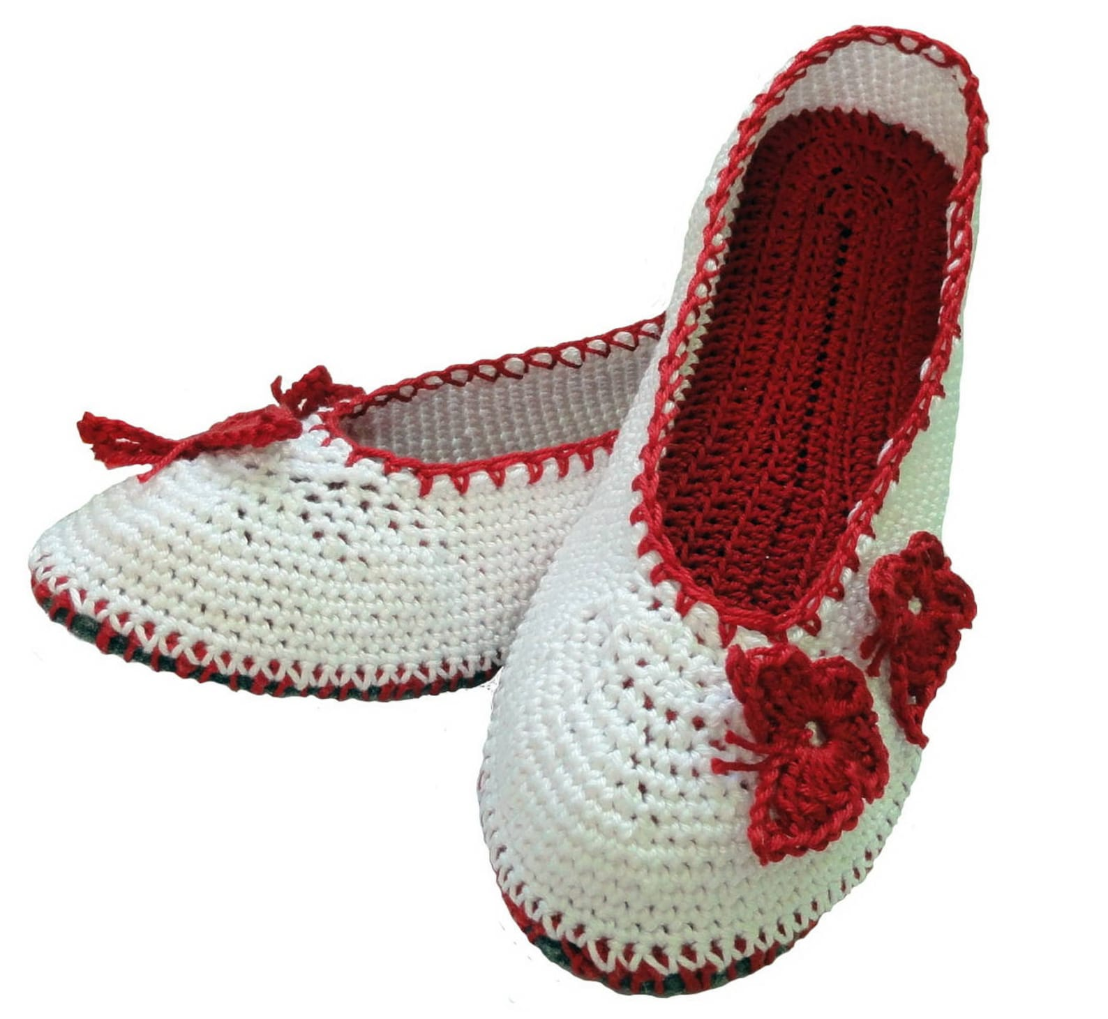 Сrochet slippers pattern, ballet shoes, slippers for women, slippers with butterflies pdf - pattern only
