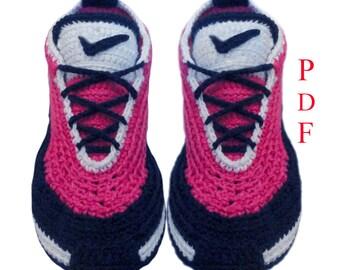 Сrochet Sneakers Pattern, Crochet Slippers Pattern, Sneakers  PDF - Pattern  ONLY