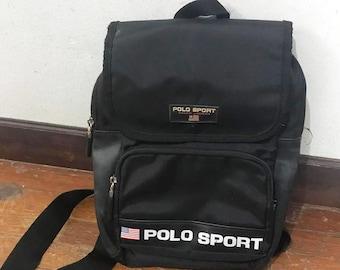 3754e1a6fb Vintage Polo Sport Bag Ralph lauren backpack mini rucksack Black Polo sport bag  backpack travel bag travel bag vintage bag