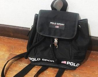 d79f603fa030 Vintage Polo Sport Bag Ralph lauren backpack mini rucksack Black Polo sport  bag backpack travel bag travel bag vintage bag