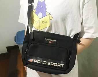 Vintage Polo Sport Bag Free Shipping 90s Polo Sport Cross Body Bags Black  Bag Camera Bag Small Bag Purse 2c84a39397b50