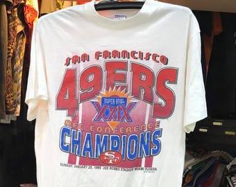 9e4bbf1c1 Vintage 90s 49ers T-Shirt Size L Free Shipping Super Bowl Shirt XXIX 90s  Shirt NFL Shirt