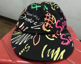 826eba1fdd6 Vintage Surf Hat Free Shipping 90s Surf Hat Neon Hat Beach Hat Graffiti Hat  Art hat Pop Art Dad Hat Summer Hat