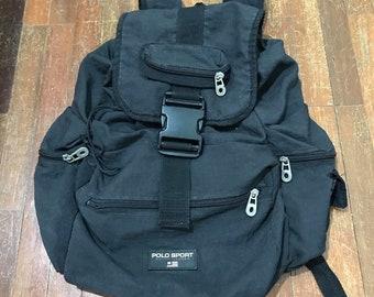 5ad04c38fb Vintage Polo Sport Bag Ralph lauren backpack mini rucksack Black Polo sport  bag backpack travel bag travel bag vintage bag