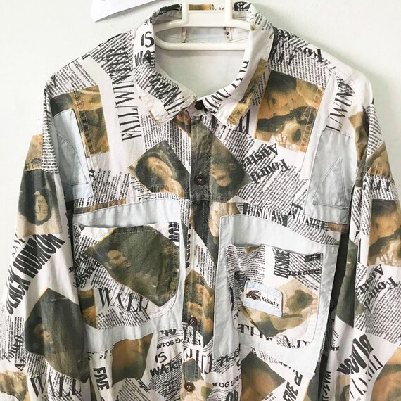 Vintage 90s Newspaper shirts Size XL Free Shipping