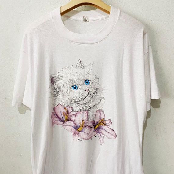 Vintage 90s Basic Edition Kawaii Kitten Sweatshirt