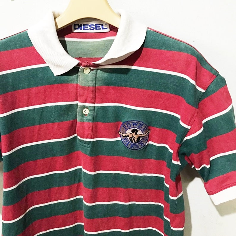 31ad368054b4a Vintage Diesel Polos Size M Free Shipping 90s Striped Shirt Red green