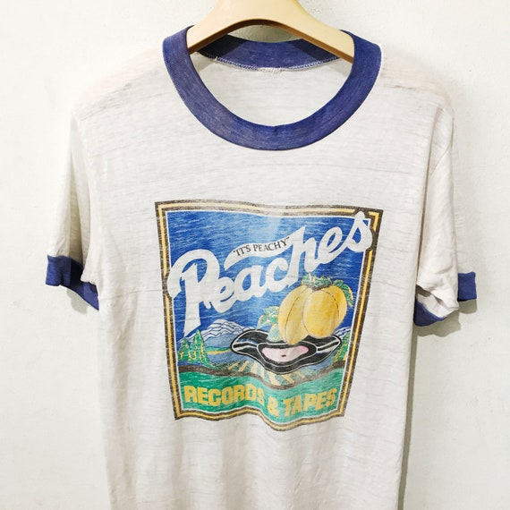 Vintage 1970s Peaches Records & Tapes Ringer Shirt