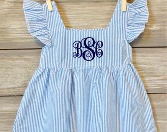 a2a9c329123a Seersucker, Monogram Dress, Flutter Sleeve Dress, Girls Summer Dress,  Ruffled Dress