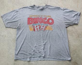 Vintage 1990s Bingo Graphic Tee / Faded / Thin (XL)