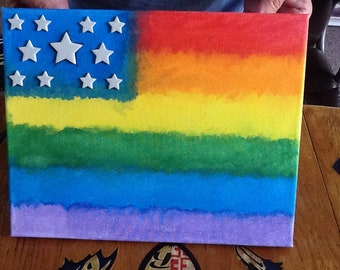 Handpainted Rainbow Canvas 11 X 14 inches