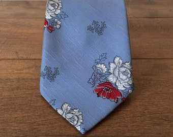 Vintage Necktie, RAM Tiemakers, Wide Tie, Polyester Floral Tie