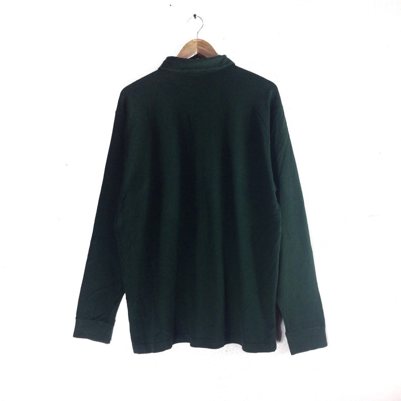 Vintage 1899 KENT Long Sleeve Polos Button Green Colour LL Size #B1 Rare !