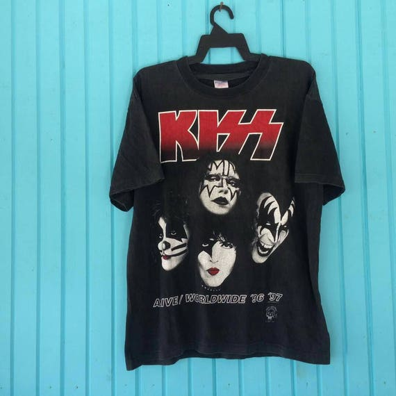 Vintage KISS Rock Band Tee Shirt Rock Roll Punk Big Logo Crewneck Hip Hop 7b679f824db
