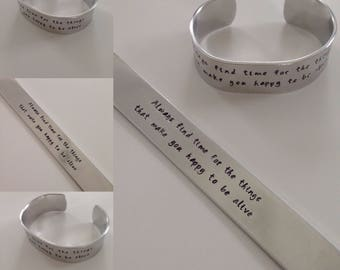 Always Find Time Hand Stamped Aluminum Cuff Bracelet