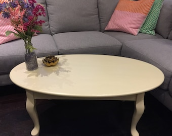 Oval coffee table lovingly hand painted in Annie Sloan cream chalk paint