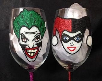 The Joker and Harley quinn glitter glasses
