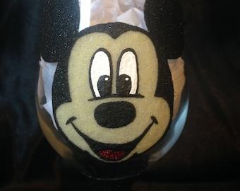 Micky Mouse glitter glass