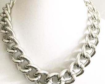 5492ec7a4 Glossy Silver Chunky Chain Necklace, Chunky Chain Jewelry, Silver Chain  Links, Chunky Jewelry