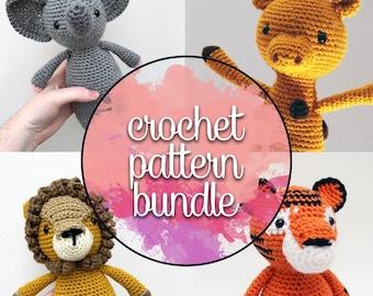 Jungle Animals Crochet Patterns | Lion, Tiger, Elephant, Giraffe Amigurumi Patterns