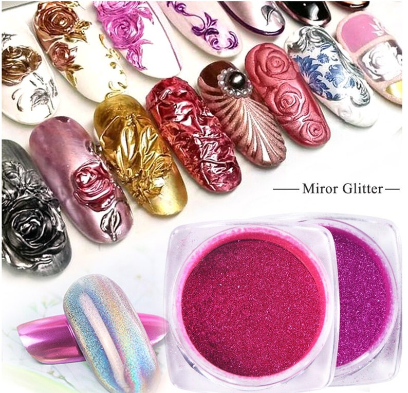 2649862894990 Mirror Metallic Chrome Nail Powder Holo Rainbow Rose Silver Holographic  Glitter Sequin Dipping Nail Pigment Decor Manicure