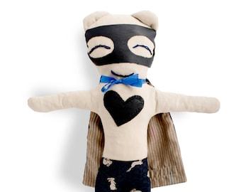 Rag doll bunny-superhero-boy-Mister Bunny-Super Doudou for kid in printed rabbits