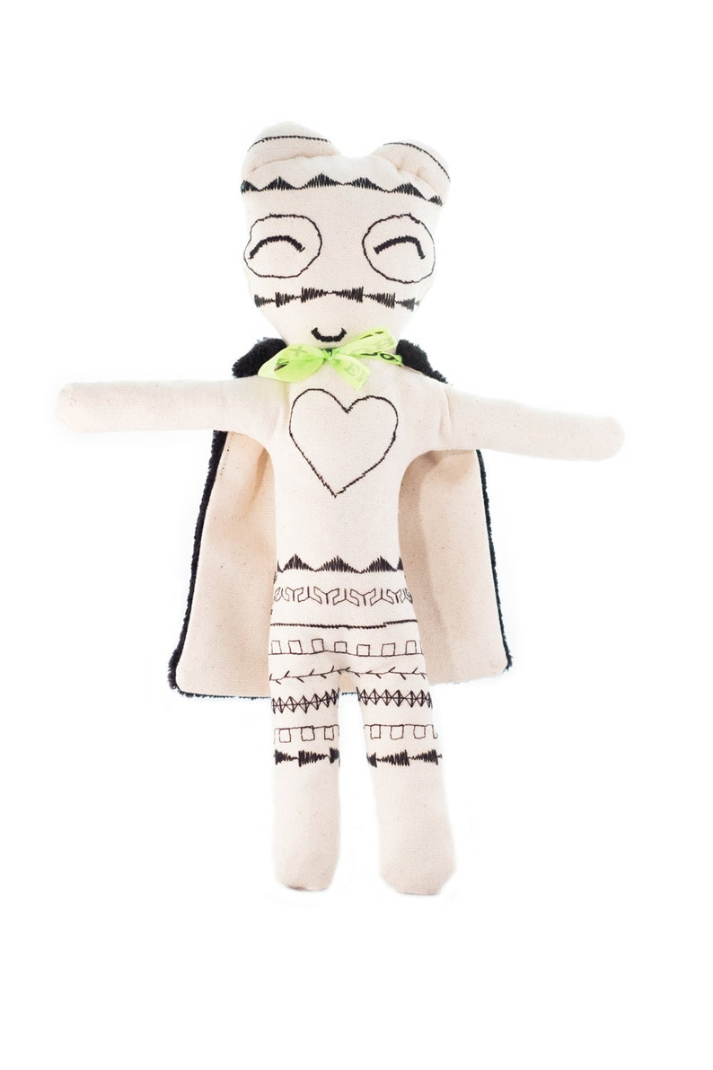 Rag doll-super-hero-boy-cotton embroidered-haute couture: image 0